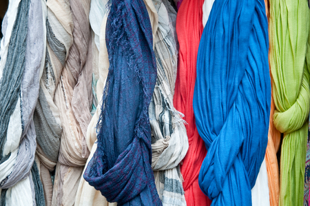 scarves: group of beautiful colored scarves in cotton and wool Stock Photo