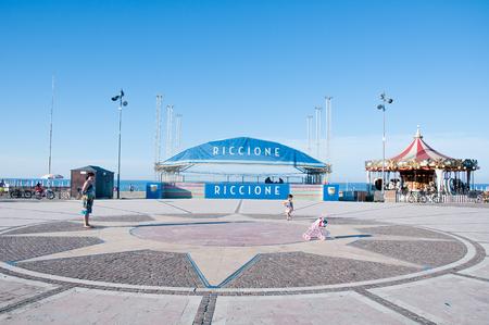 located: 7 june 2016-riccione-italy-   square with the carousel located on the seafront in Riccione on the Adriatic coast