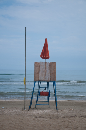 presence: 8 june 2016-senigallia-italy-panorama of the senigallia beach with the presence of the lifeguard house Editorial