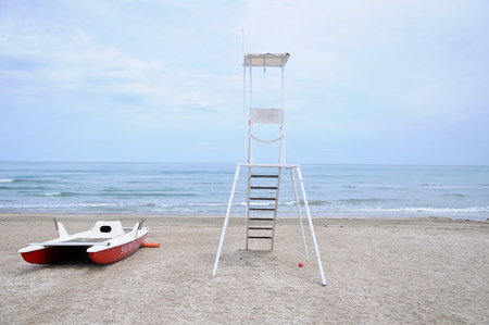 presence: panorama of the sinigallia beach with the presence of the lifeguard house Editorial