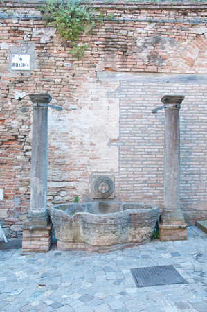 romagna: beautiful and antique fountain in the city of Romagna santarcangelo Stock Photo