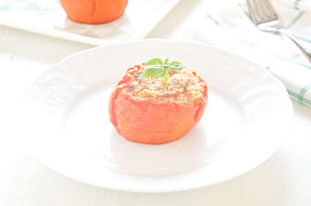 ground beef: delicious tomatoes stuffed with ground beef and bread crumbs,italy