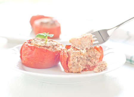 crumbs: delicious tomatoes stuffed with ground beef and bread crumbs,italy