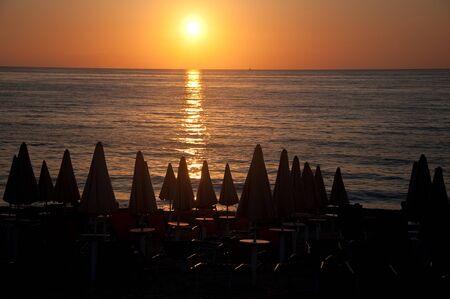 vacation village in an Italian beach seen at sunset