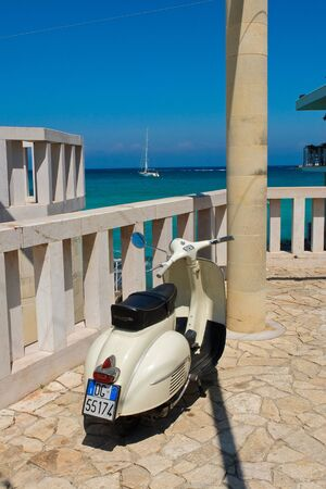 8 august 2014-otranto-italy- beautiful Vespa scooter in a southern Italian beach,italy