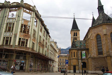 23 may 2009-sarajevo-buildings destroyed by war in sarajevo Editorial