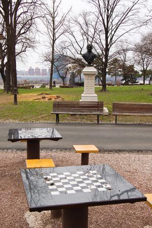 21 may 2009-belgrado-serbia-Chess tables in belgrade city in serbia