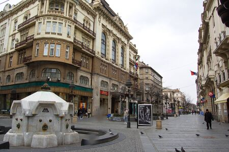21 march 2009-belgrado-serbia-Detail of a beautiful city square in belgrade in serbia