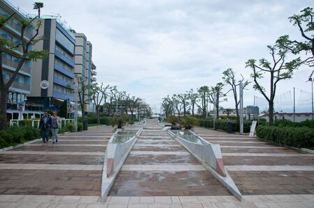 20 may 2017-riccione-italy-The seaside promenade with its chairs on a rainy day,italy