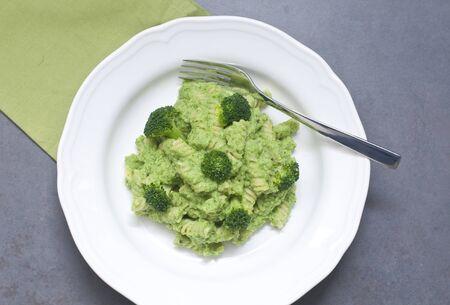 fusilli with green broccoli cream,italy