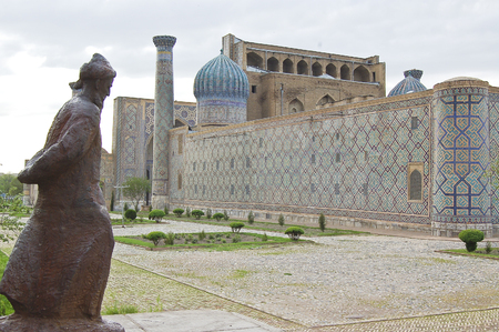 registan, was the heart of the anciente city of Samarcanda, Uzbekistan 写真素材