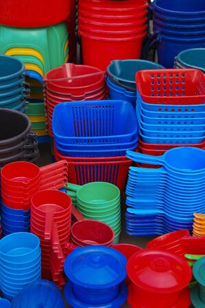 beautiful and colorful plastic containers