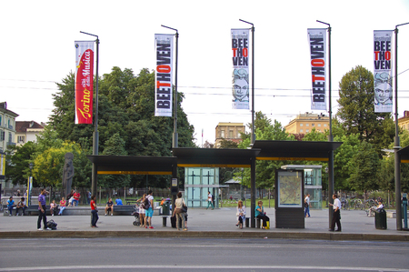 24 june 2013-turin-italy-bus stop in turin, italy Editorial