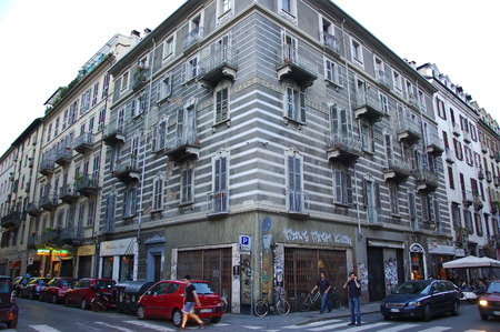 26 june 2013-turin-italy-Nineteeth-century houses in the historic center of Turin,italy Editorial