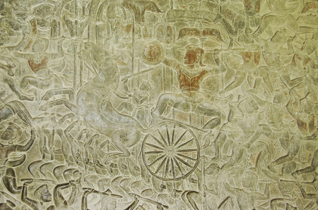 Stone carving in the temple of Angkor wat in Canbodia Banque d'images - 111211766