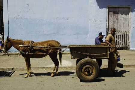 18 april 2007-pinar del rio-cuba- A cart pulled by a horse through the streets of Vinales, cuba