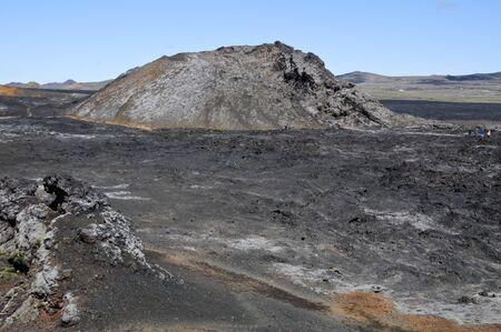 Icelandic landscapes with black volcanic soil