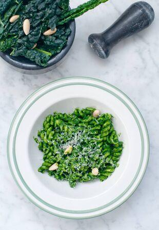 pasta with black cabbage pesto,italy Zdjęcie Seryjne - 140470414