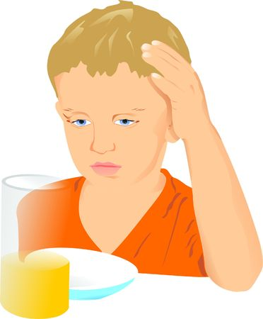 reluctance: The boy drinks juice Stock Photo