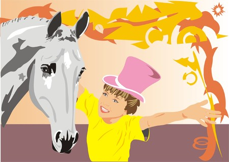 Attraction with a horse. Vector Vector