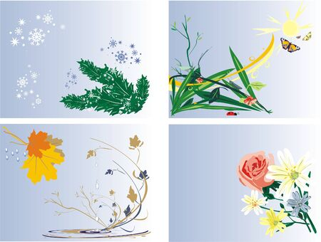 Seasons. Icons (vector) Vector