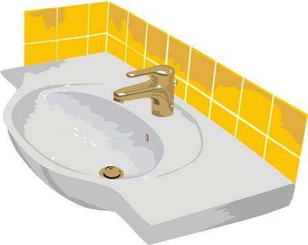 washstand: The washstand. The bathroom (vector)