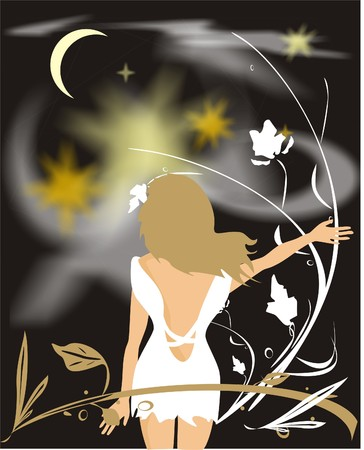 blondy: The blondy in a garden. Night (vector)