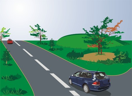 Autos de estilo deportivo en la carretera (vector)  Vectores