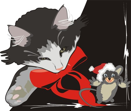 Sleeping kitten and playing mouse. Vector Vector