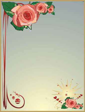 Roses, drops and stars. Vector Vector
