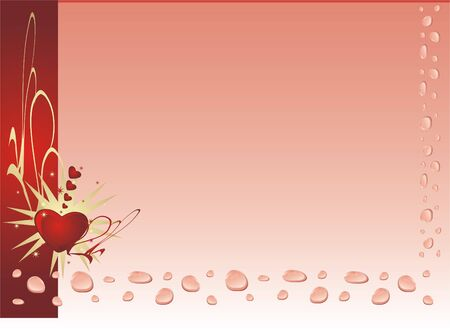 Drops, hearts and stars. Background. Vector