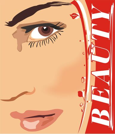 The beautiful woman. Fragment of face  Vector