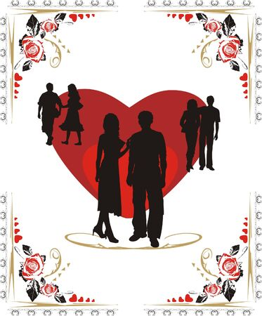 acquaintance: Hearts, roses and silhouettes of youth. Valentines day. Vector Illustration