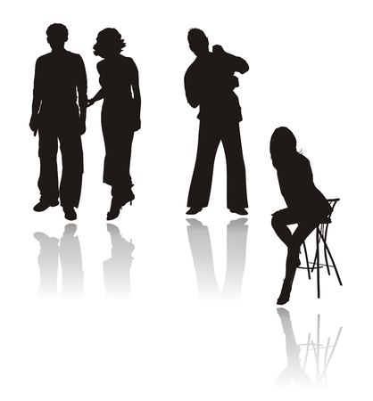 Photo on memory. Silhouettes of youth. Vector Vector