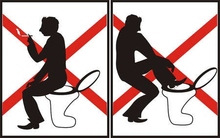 liquidate: Forbidden acts. Silhouettes of men. Vector