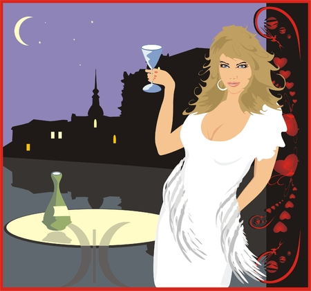 merriment: Beautiful woman with glass of wine on a background of a nightly city
