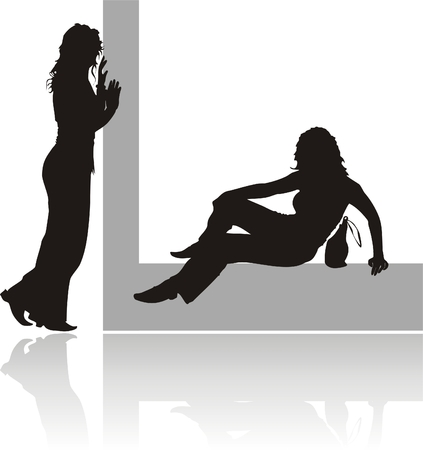 Silhouettes of two girls. Vector Vector