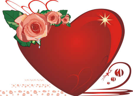 Roses. Drops. Heart. Valentines day. Vector Vector