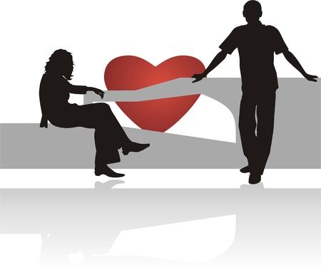 acquaintance: Conocer. Siluetas del hombre y la mujer. Vector  Vectores