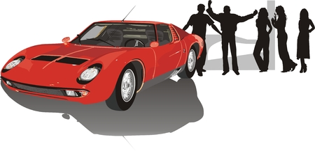 Car of red color and silhouettes of people. Vector Illustration