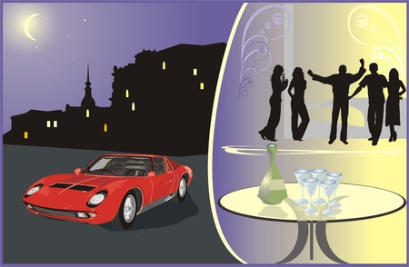 acquaintance: Car on a background a nightly city. Young people on an evening-party. Vector