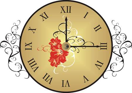 Clock with decorative elements. Vector Vector