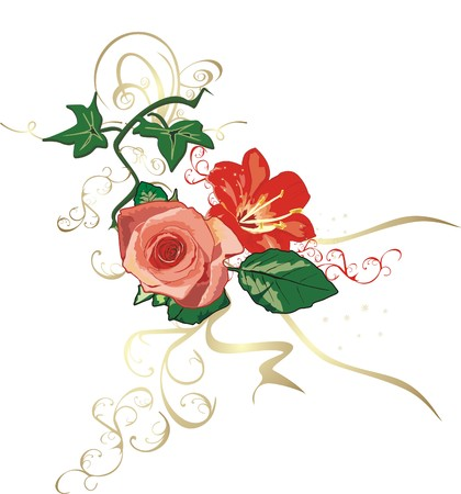 Ivy, lily and rose. Decorative elements. Vector Illustration
