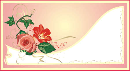 Ivy, lily and rose. Holiday�s card. Vector Vector