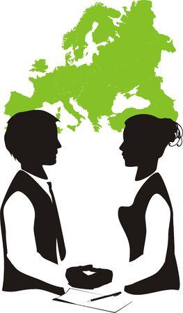 businesspartners: Dos socios de negocio-sobre un fondo de la tarjeta de Europa