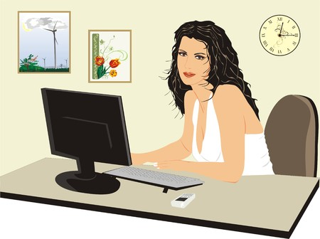 vector chair: Office-manager near a computer. Beautiful girl