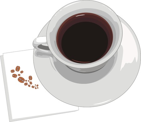 serviette: Cup with coffee on serviette. Vector