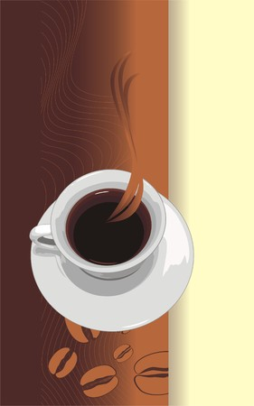Cup with coffee. Abstract background for wrapping. Vector Vector