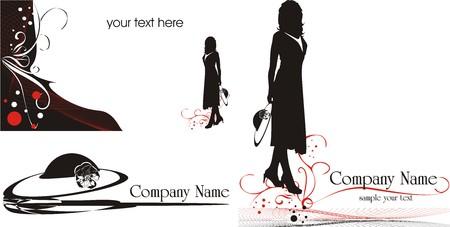 Logo de tarjetas de visita. Moda estilo. Vector  Vectores