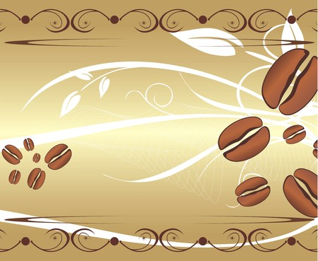 Corns of coffee on the abstract background. For wrapping. Vector Vector